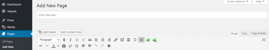 WordPress Add a new page